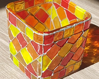Stained Glass Candle Holder, Square, red yellow orange