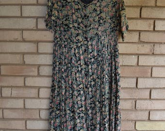 Vintage Indian Cotton Babydoll Maxi Dress Small