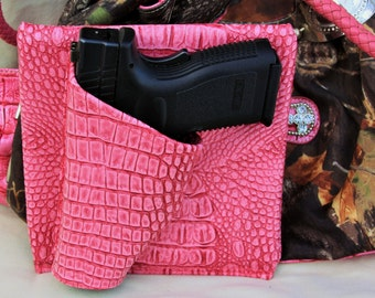 """4"""" Large Auto, Pink Gator, Concealed carry purse holster,  CCW pistol XD Sig Glock"""