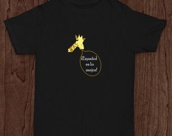 """Infant/toddler """"Spanish-loving giraffe"""" t-shirt"""