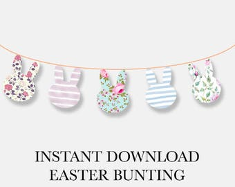 Easter Bunting, Easter Printables, Easter Bunny, Bunny Head, Easter Decorations, Easter Decor, Easter, Bunting Banner, Easter Garland