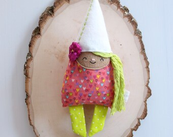 Handmade Fantastical Friends Pink and Green Gnome in White Flower Hat Mini Doll