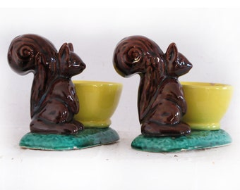 1 cute squirrel egg cup,VALLAURIS Ceramic glazed, Salt and Pepper, Mid Century French Riviera Decor, Stamped