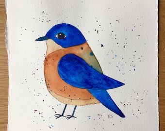 Folk Art Bird Painting - Bluebird Painting - Watercolor Painting - Bird Art - Bird Art - Bird Lovers - Folk Art Painting