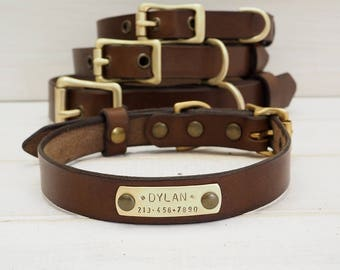 Dog Collar, Leather Dog Collar, Dog Collar Leather, Free id tag , Brown Leather Collar, Dog Collar Personalized, Dog Lover Gift, Dog Gift