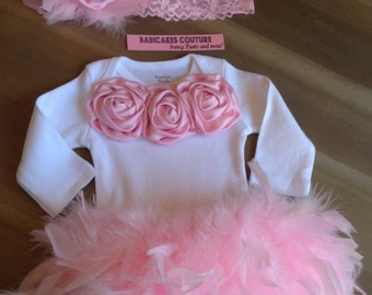 Cake Smash 1st Birthday Outfit, Pink Feather Outfit, Newborn Photo Outfit, Couture Take Home Outfit, Feather Baby Outfit, Feather Baby Gown