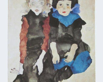 "Schiele Egon, 20, Lithograph,""The two girls"" printed 1968  -e"