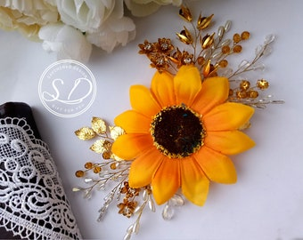 Sunflower bridal headpiece sunflower hair comb sunflower wedding rustic sunflower hair wedding hair accessories will be my bridesmaid