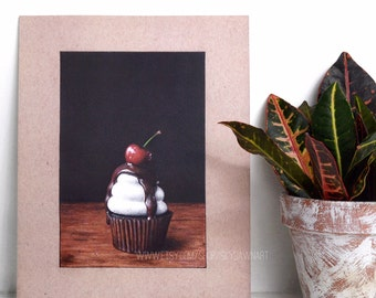Cupcake Drawing Art Print 8x10, Realistic, Food Art, Colored Pencil Drawing