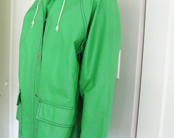 1980's VintageKelly Green Vinyl Rain Jacket - Navy and Green Whale Print Lining Size Medium