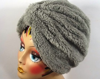 Faux fur, fashion turban, hat, gray, full turban, winter, vintage style, designer, head covering, size Sm, Med, L, XL. Free shipping in USA