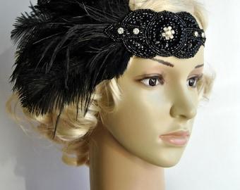 Black Rhinestone Vintage Inspired The Great Gatsby1920s headpiece Flapper Feather Headband, boho, rhinestone beaded headband
