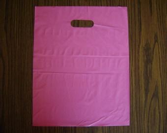 25 pack 9X12 Hot Pink Merchandise Bags Glossy Handles Low Density Handle Gift Bags