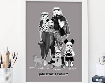 Custom Portrait,llustration,Family Illustration,Family Portrait,Christmas Gift,Personalized Gift Print,Star Wars Gifts,Stormtrooper Family