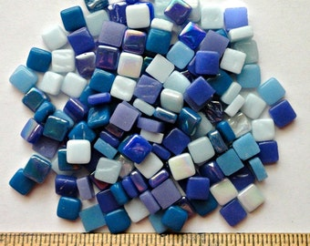 100 8mm Blue Mix Mini SQUARES//Recycled Glass Mosaic Tiles//Mosaic Supplies//Craft Supplies//Mosaic Tiles