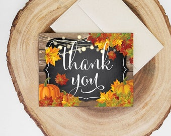 Fall In Love Folded Thank You Card INSTANT DOWNLOAD