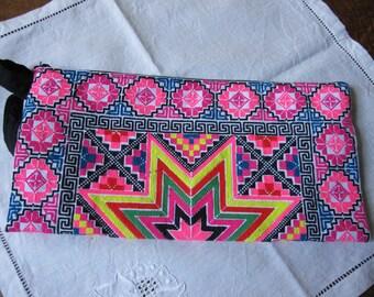 Original embroidered, ethnic, hand clutch, star pattern