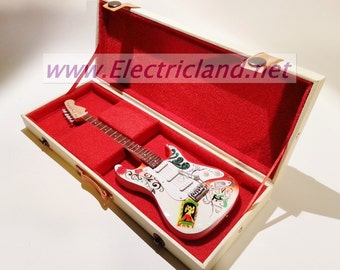 jimi hendrix monterey pop stratocaster mini guitar + hard case miniature chitarra in real wood material collectibles