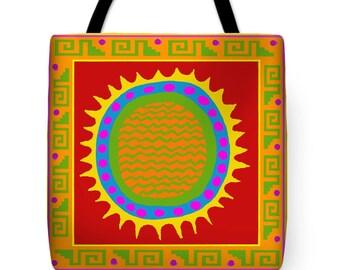 Southwest Del Sol Petroglyph Tote Bag -  Southwest Tribal Throw Pillow - Shaman Pillow Design - Tribal Sun Bag - Housewarming Del Sol Gift