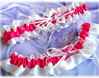 Wedding Bridal Garters Hot Pink Fuchsiat, Blue Rhineston Accent, Something Blue