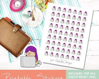 Printable Doodle Laptop Girl Emlee Hand Drawn Stickers - Cricut Cut File, PDF, Black out File, Filofax, Kikki K,