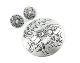Vintage Flower Brooch, Earrings Set, Aluminum, Silver Tone, Clip Ons, S47