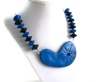 Art necklace mod retro statement blue polymer clay unique large pendant necklace