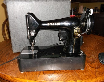 Antique Vintage Spartan Portable Sewing Machine In Case Working Sweet SALE REDUCED