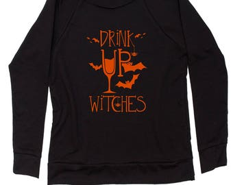 Drink Up Witches Slouchy Off Shoulder Oversized Sweatshirt