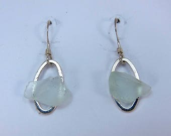 Littest's Mermaid's Tears Earrings -  Aqua sea glass from South Shore of Nova Scotia, Canada on small silverplate oval