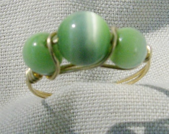 Wire Wrapped Ring - Light Green & Gold Cat's Eye, Sz 6 3/4, by JewelryArtistry - R225