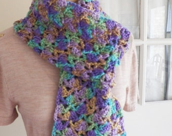 Multi Colored Crocheted Scarf