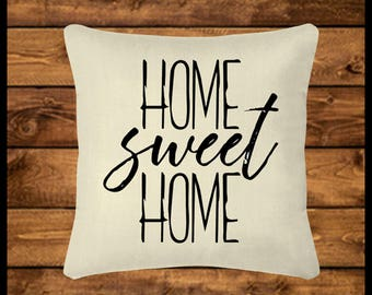 HOME SWEET HOME - Burlap-look Canvas Pillow, Throw Pillow, Custom Pillow, Pillow Cover, Wedding Gift, Housewarming, Home Decor, Home Gifts