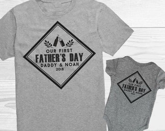 First Fathers Day Gift / Daddy Baby Shirts / Beer and Milk Bottles Cheers Shirt / Outfits for Dad and Son / Matching Shirts / Personalized