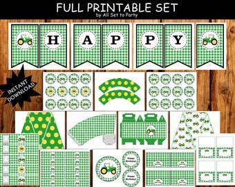 Tractor Party, Farm Theme Party Printables, Full Printable Set, Birthday Banner, Cupcake Wrappers, Centerpieces -Instant Download