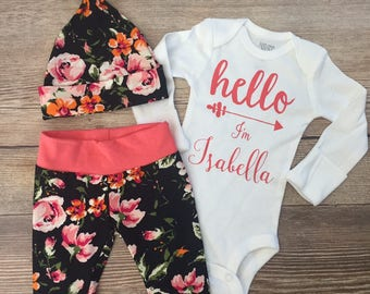 Black and Coral Rose Floral Coming Home Outfit, Going Home Outfit, Floral Girl outfit, Hello World, Hello I'm Name Outfit, Baby name outfit