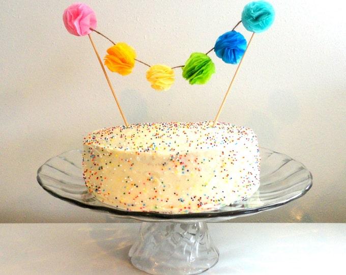 Cake topper mini tissue paper pom pom cake topper garland, Rainbow cake topper banner, birthday cake topper,  rainbow cake topper