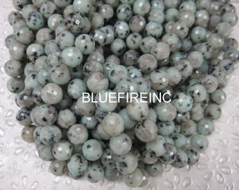 32 pcs Round Faceted Kiwi Jasper beads in 12mm