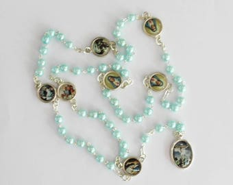 Rosary Our Lady The Seven Sorrows Light Blue Pearl Beads Mater Dolorosa Servite Rosary