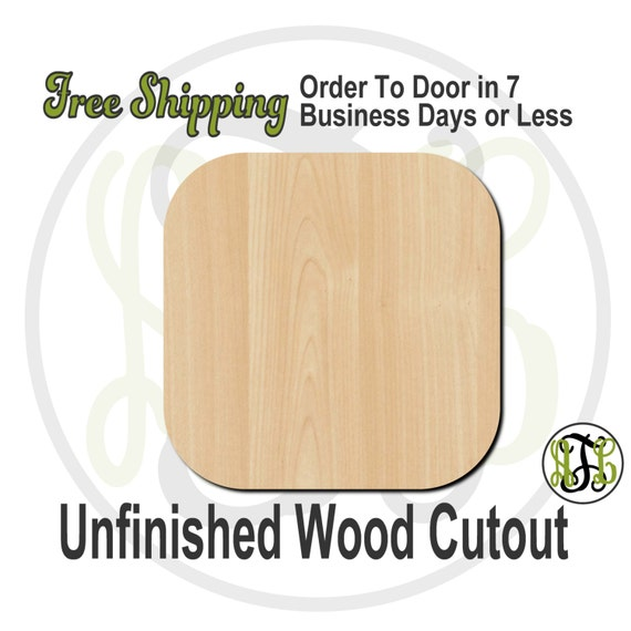 """Square Rounded- 1"""" to 6"""" Minis- 40017- Small Wood Cutout, unfinished, wood cutout, wood craft, laser cut, wood cut out, ornament"""