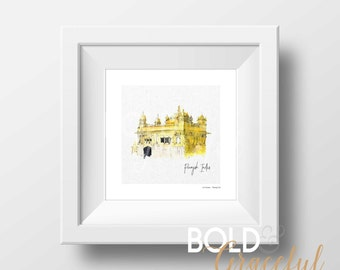 The Golden Temple India / Sikh Temple / Indian Temple / Watercolor Art / Punjab art / Indian Art / Printable Art Print / Digital download /