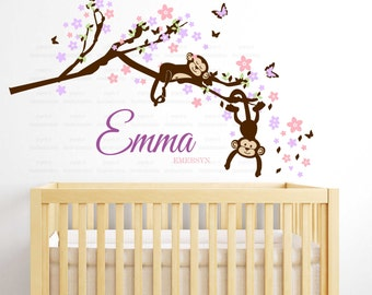 Baby Girl Nursery Decor : Branch Tree with flowers, Girl Monkeys and Custom Name - Nursery Wall Decal custom colors - Monkey on a branch