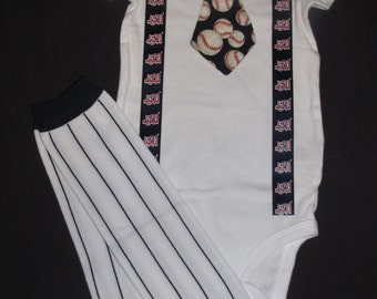 ST. LOUIS CARDINALS inspired baseball outfit for baby boy - tie bodysuit with suspenders and leg warmers