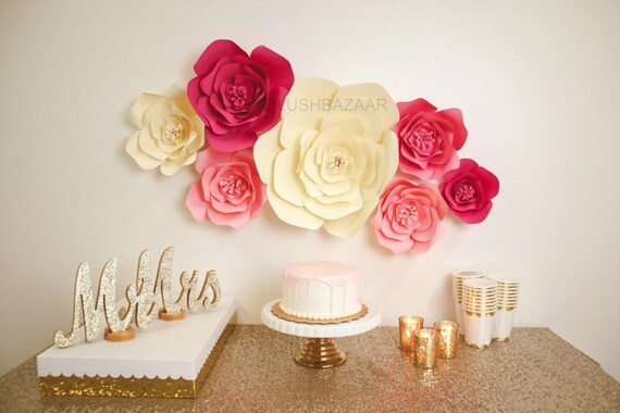 Pink and Cream Paper Flower Wall Wedding Backdrop Large