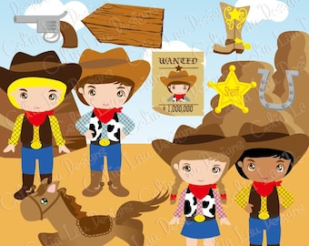 Cowboy Clip art / Cute Cowboys Clipart and Digital paper Background set(CG023) /INSTANT DOWNLOAD