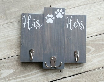 Key and leash holder, his hers dog key hanger, key holder for wall, entryway key holder, housewarming gift,gift for her, couple gift