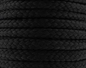 Cotton braided cord / black / width 7mm, 50cm cut