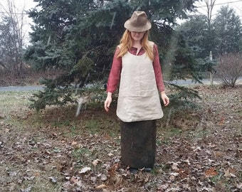 Linen Pinafore Apron with Lining