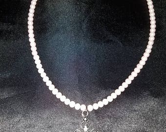 Faux Pink Pearl Cross Necklace set
