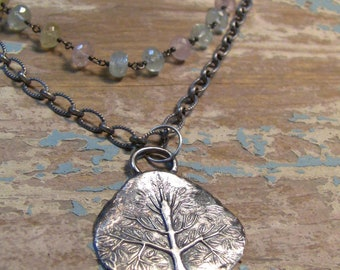 Sterling Silver Tree of Life Necklace, Gemstone Necklace, Multi-Layer Necklace, Silver Tree Necklace